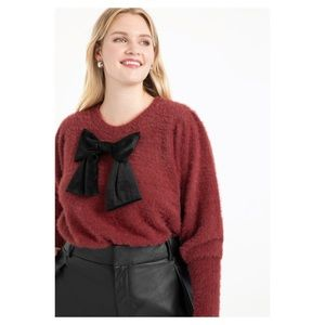 ELOQUII puff sleeve sweater with bow